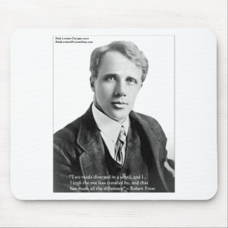 """Robert Frost """"Road Traveled"""" Quote On Cards & Gift Mouse Pad"""