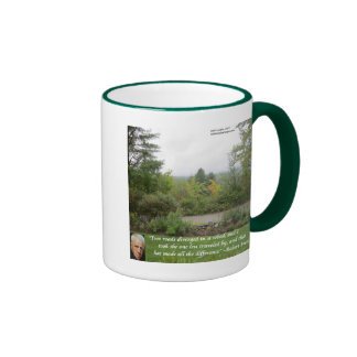 """Robert Frost Wisdom Quote """"Road Less Traveled"""" Coffee Mugs"""