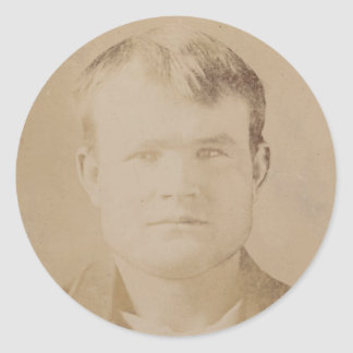 Robert LeRoy Parker alias Butch Cassidy Portrait Classic Round Sticker