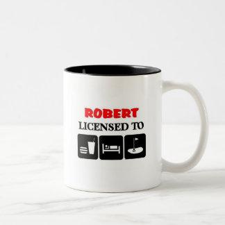 Robert licensed to eat sleep golf Two-Tone coffee mug