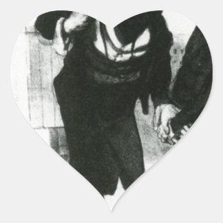 Robert Macaire Business Men by Honore Daumier Heart Sticker