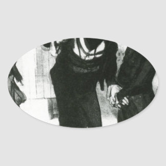 Robert Macaire Business Men by Honore Daumier Oval Sticker