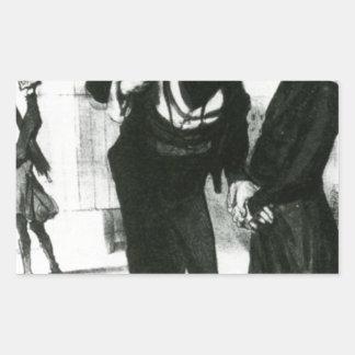 Robert Macaire Business Men by Honore Daumier Rectangular Sticker