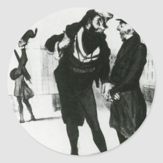 Robert Macaire Business Men by Honore Daumier Round Sticker