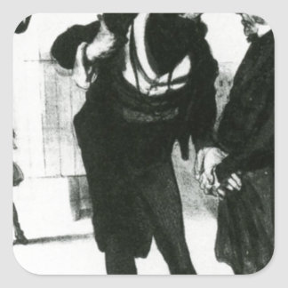 Robert Macaire Business Men by Honore Daumier Square Sticker