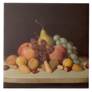 Robert Scott Duncanson - Still Life with Fruit Large Square Tile