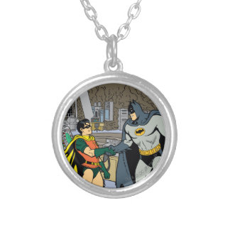 Robin And Batman Handshake Silver Plated Necklace