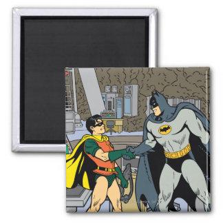 Robin And Batman Handshake Square Magnet