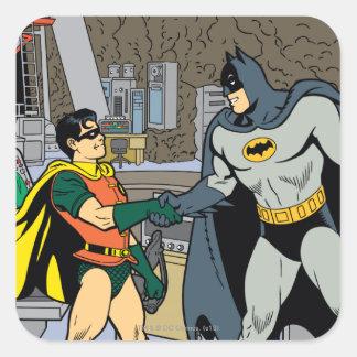 Robin And Batman Handshake Square Sticker