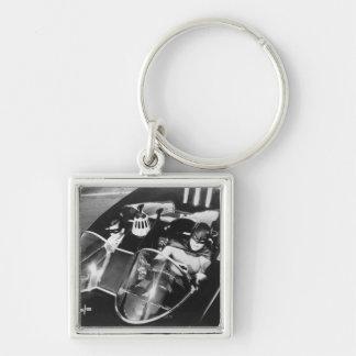 Robin and Batman in Batmobile Silver-Colored Square Key Ring
