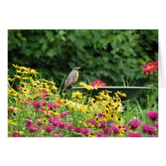 Robin and Flowers Card