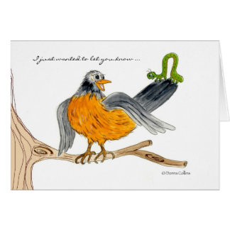 Robin and green inch worm card
