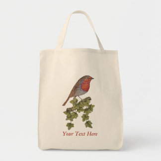 robin and ivy original art seasonal design tote bag