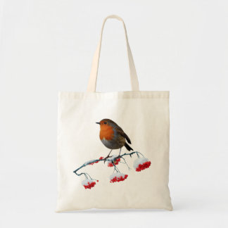 Robin and red frosted berries tote bag