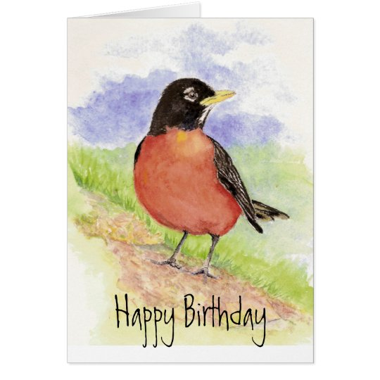 Robin - Bird  Birthday  Greeting Card
