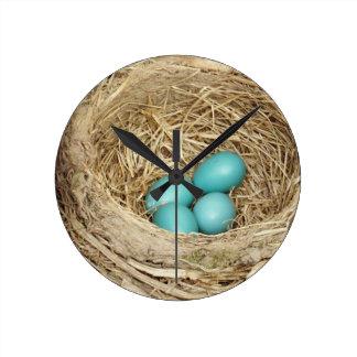 Robin Bird Egg Nest Round Clock
