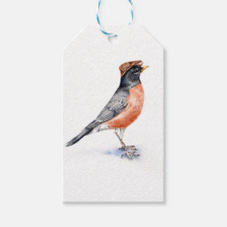 Robin Bird in Hat Gift Tags