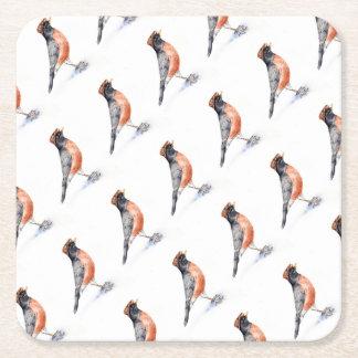 Robin Bird in Hat Square Paper Coaster