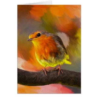 Robin Bird On Branch In The Garden Art Portrait Card