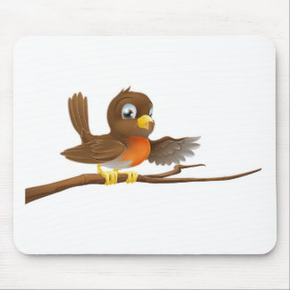 Robin bird on branch pointing mousemats