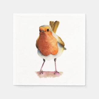 Robin Bird Watercolor Painting Disposable Napkin
