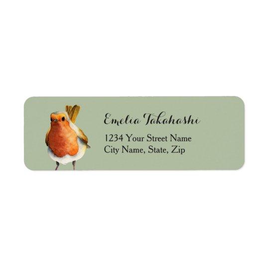 Robin Bird Watercolor Painting Return Address Label
