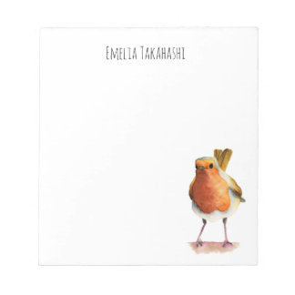 Robin Bird Watercolor Painting with Name Notepads