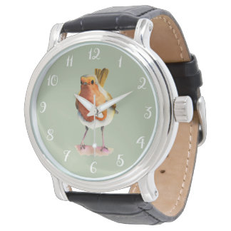 Robin Bird Watercolor Painting Wrist Watches