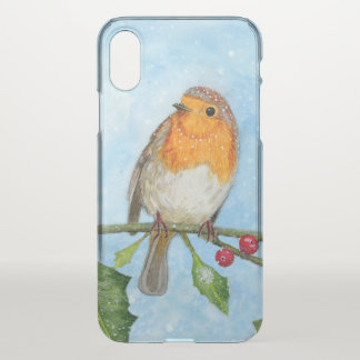 Robin Bird Watercolour Painting Clear iPhone Case