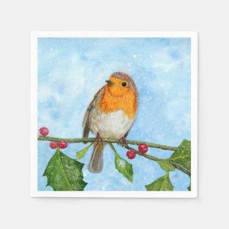 Robin Bird Watercolour Painting Paper Napkin