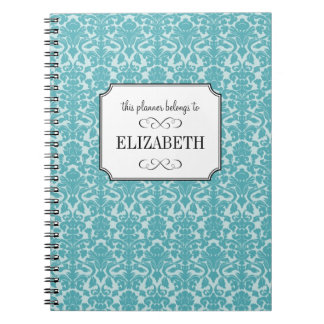 Robin blue damask custom wedding planner journal note book
