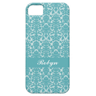 Robin blue damask pattern custom name personal barely there iPhone 5 case