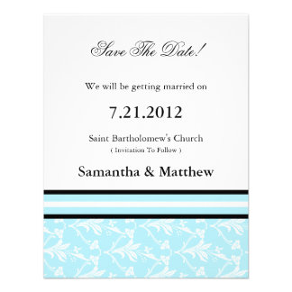 Robin Blue Damask Save The Date Cards Custom Invitation