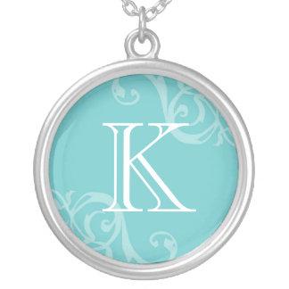 Robin blue flourish initial monogram letter charm round pendant necklace