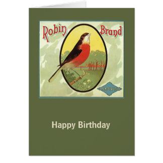 Robin Brand Fruit Crate Label Greeting Card