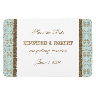 Robin Egg Blue and Gold Damask Save the Date Rectangular Photo Magnet