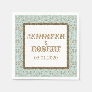 Robin Egg Blue and Gold Damask Wedding Disposable Serviettes