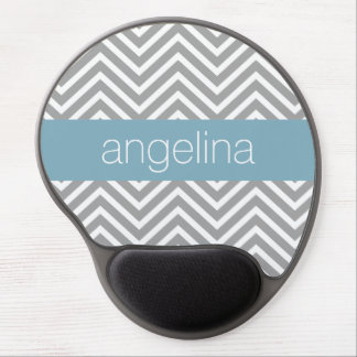 Robin Egg Blue and Gray Chevrons Custom Name Gel Mouse Pad