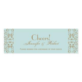 Robin Egg Blue Brown Damask Wedding Drink Ticket Business Card