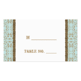 Robin Egg Blue Brown Damask Wedding Place Cards Business Card Template