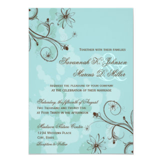 Robin Egg Blue Brown Floral Wedding Invitations