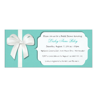 "Robin Egg Blue Custom Bridal Shower Invites 4"" X 9.25"" Invitation Card"
