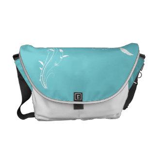 Robin Egg Blue Floral Messenger Bag