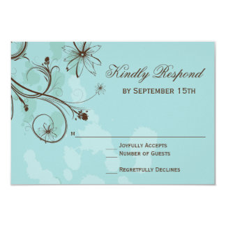 Robin Egg Blue Floral Wedding RSVP Cards