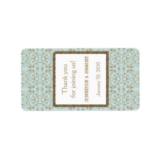 Robin Egg Blue Gold Damask Wedding Lip Balm Label Address Label