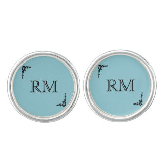 Robin Egg Blue Initials Wedding Cuff Links