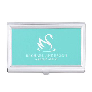 Robin Egg Blue Minimalist Swan Business Card Holder