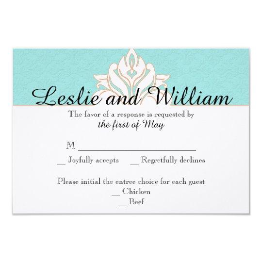 Robin Egg Blue Orange Damask Wedding Response Card