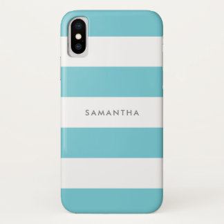 Robin Egg Blue Rugby Stripes with Name iPhone X Case