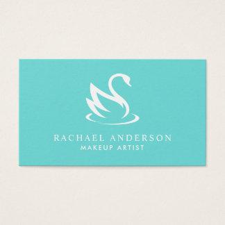 Robin Egg Blue Swan Logo Minimalist Business Card
